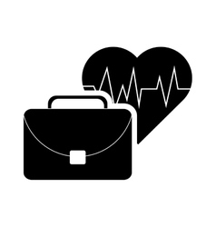 heart cardiogram and suitcase icon vector image vector image
