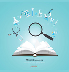 medical research healthcare with open book vector image vector image