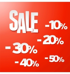 Sale percents paper set vector image