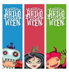 set of halloween banners with children vector image vector image