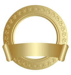 gold round frame vector image vector image