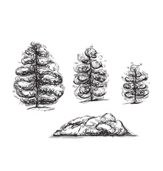 Hand drawn trees and stone sketch vector image