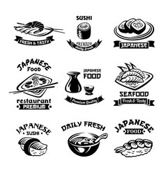 seafood sushi japanese restaurant icons vector image vector image
