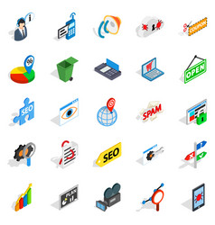 seo icons set isometric style vector image vector image
