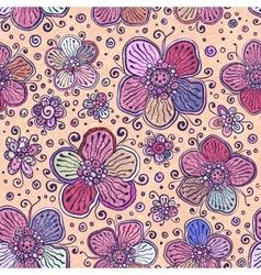 Vintage colors flowers seamless pattern vector image