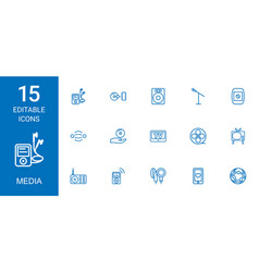 15 media icons vector image