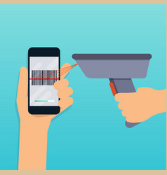 a barcode scanner scanning a bar code on a mobile vector image