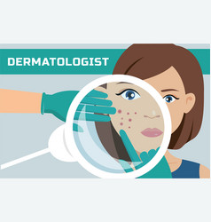 a dermatologist is examining the woman s skin vector image