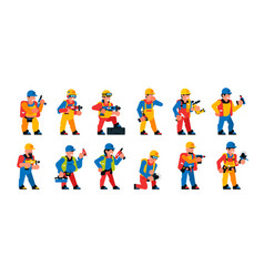 a set workers with power tool men and women vector image
