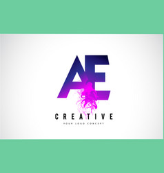 Ae a e purple letter logo design with liquid vector