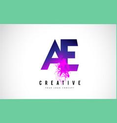 Ae a e purple letter logo design with liquid vector