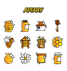 apiary icons set vector image