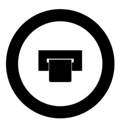 atm card slot icon black color in circle vector image