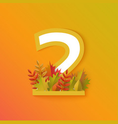 autumn two 2 number with forest leaves vector image
