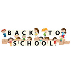 banner design with kids back to school vector image