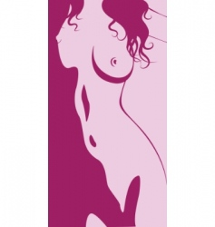 Beautiful artwork nude woman silhouette vector
