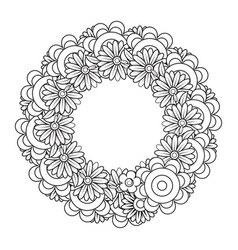 Black and white doodle wreath vector
