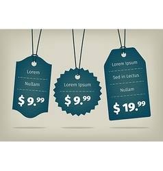 blue cardboard textured pricing tags vector image