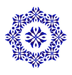 blue floral decorative round vector image