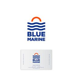 blue marine logo boats service travel yacht club vector image
