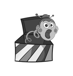 Box with jumping toy icon black monochrome style vector image