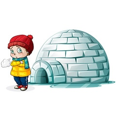 Boy standing in front of igloo vector