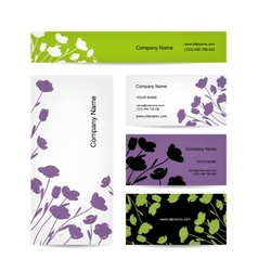 Business cards design floral bouquet vector