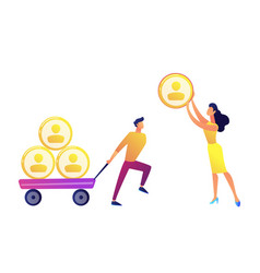 businessman pulling cart with people profiles vector image