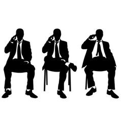 Businessmen on chairs talking on the phone vector