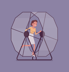 businesswoman running in a mouse wheel vector image