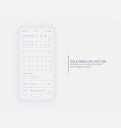 Calendar app february 2021 ui ux neumorphic vector