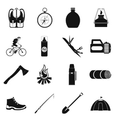 Camping simple icons vector