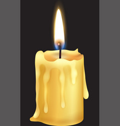 Candle flame close up on a black background eps vector