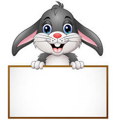 cartoon bunny holding blank sign vector image