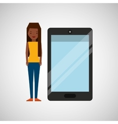 Cartoon girl and smart phone touchscreen vector