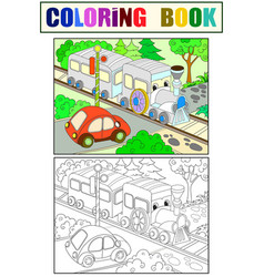 cartoon train and car coloring black and white vector image