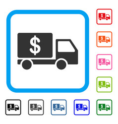 cash delivery car framed icon vector image