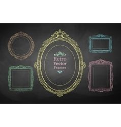 Chalk drawn vintage frames vector image