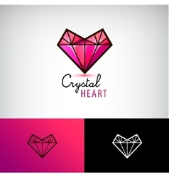 Chrystal heart icon jewelry logo Love vector