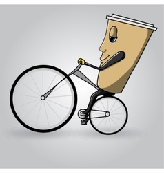 Coffee cup to go on bicycle vector