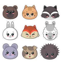 collection cute animal faces big icon vector image