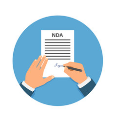 Colored cartooned hand signing nda contract vector