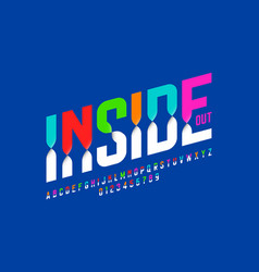 Colorful inside out font alphabet letters and vector