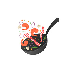 cooking process flipping fry vector image
