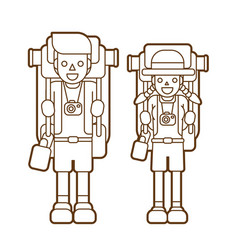 Couple carrying backpacks ready to travel graphic vector