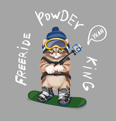 cute cartoon cat on snowboard freeride slogan vector image