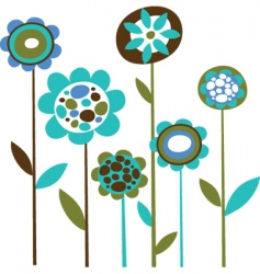 Cute retro flowers vector
