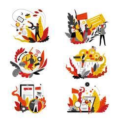 digital marketing isolated icons abstract concept vector image