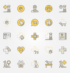 Dog veterinary colorful icons vector