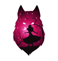 Double exposure silhouette woman with wolf vector